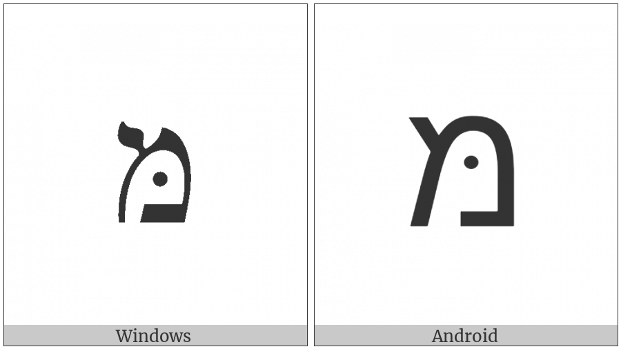 Hebrew Letter Mem With Dagesh on various operating systems