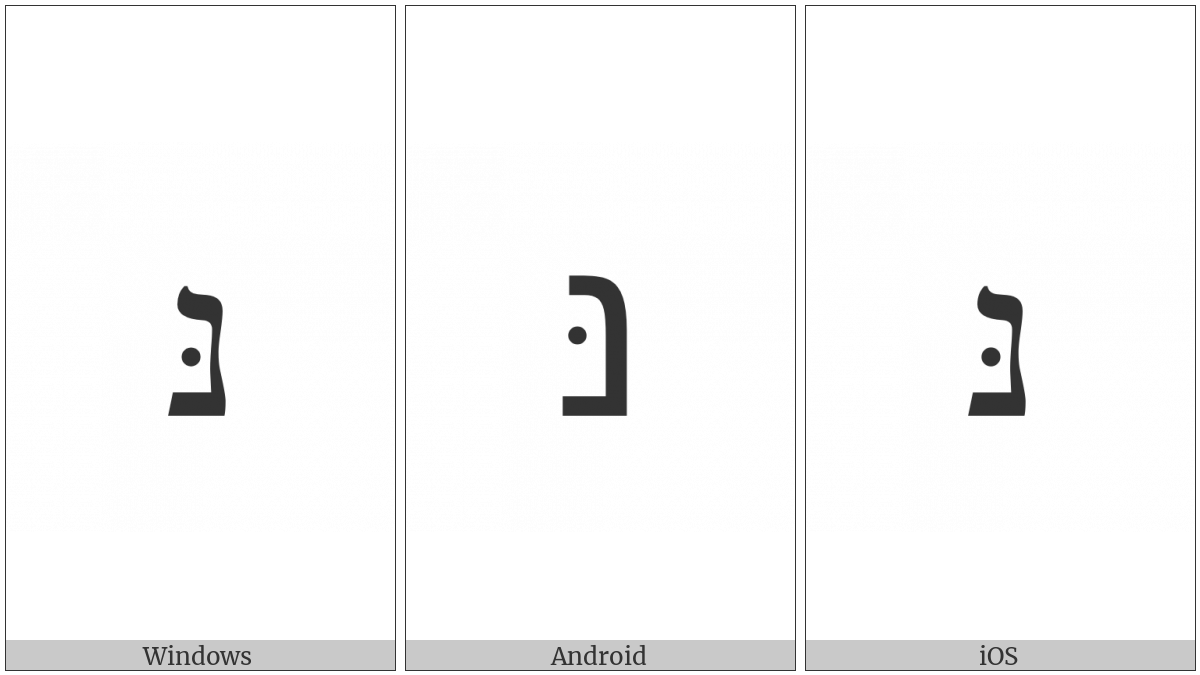 Hebrew Letter Nun With Dagesh on various operating systems
