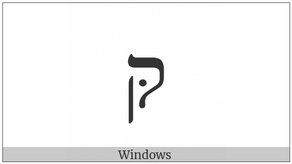 Hebrew Letter Qof With Dagesh on various operating systems