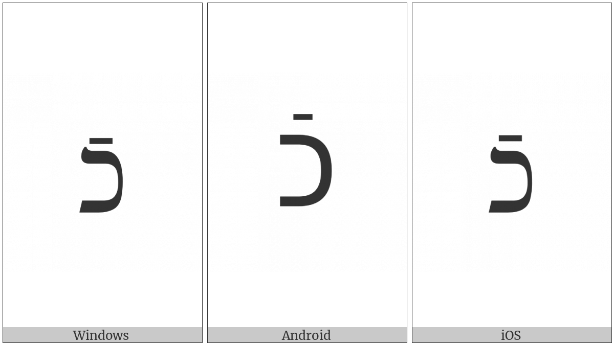 Hebrew Letter Kaf With Rafe on various operating systems