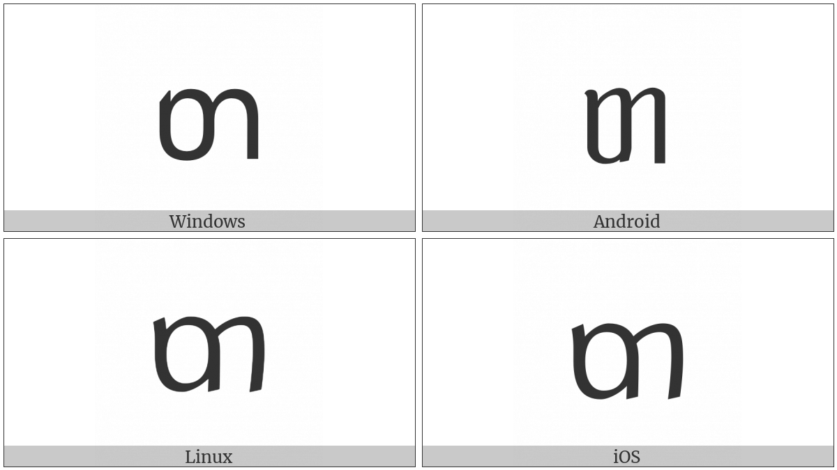Tai Le Letter Ta on various operating systems