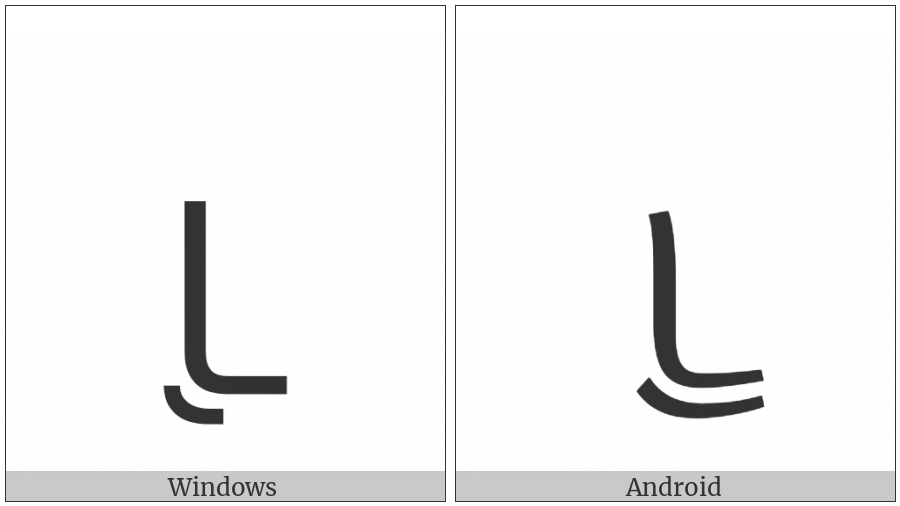 Tai Le Letter U on various operating systems