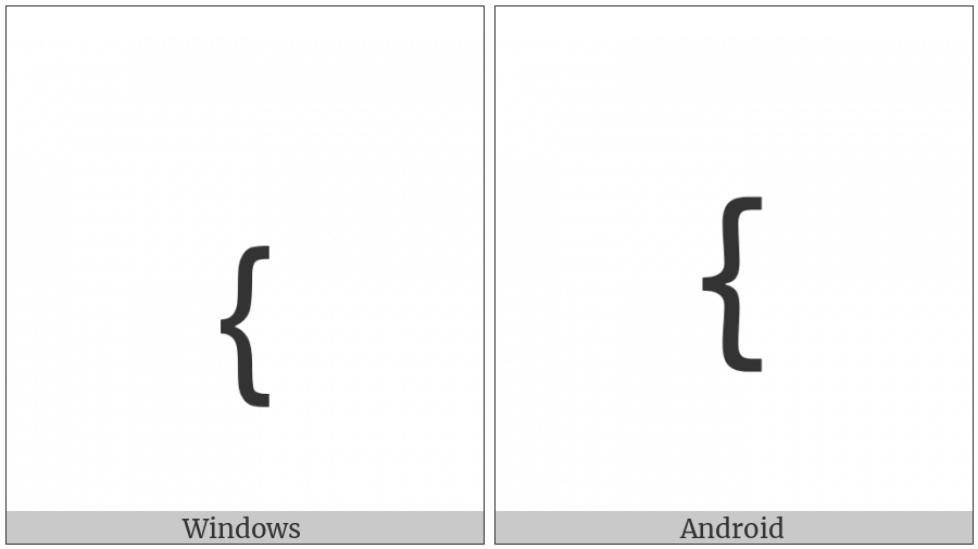 Small Left Curly Bracket on various operating systems