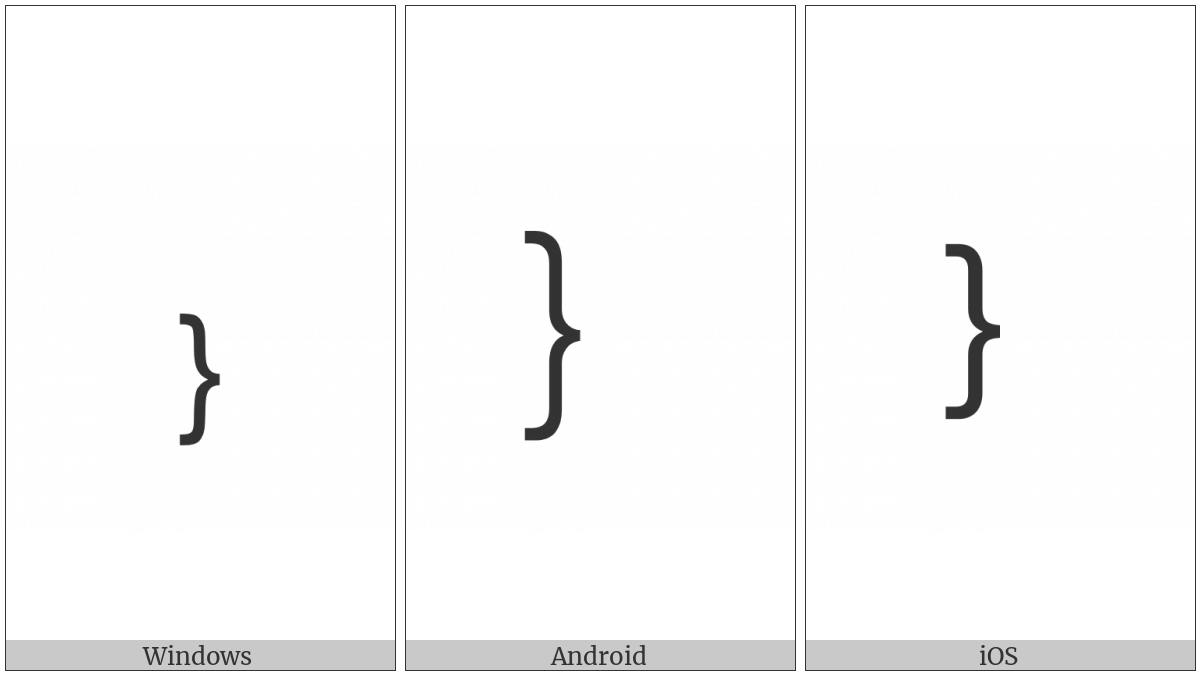 Small Right Curly Bracket on various operating systems