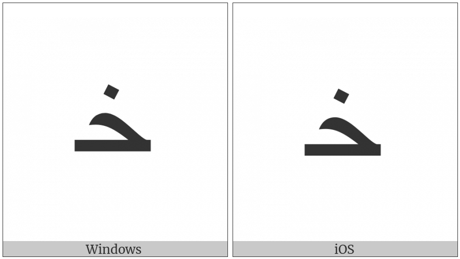 Arabic Letter Khah Initial Form on various operating systems