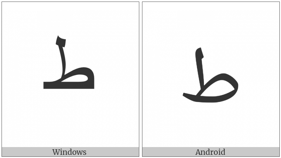 Arabic Letter Tah Isolated Form on various operating systems