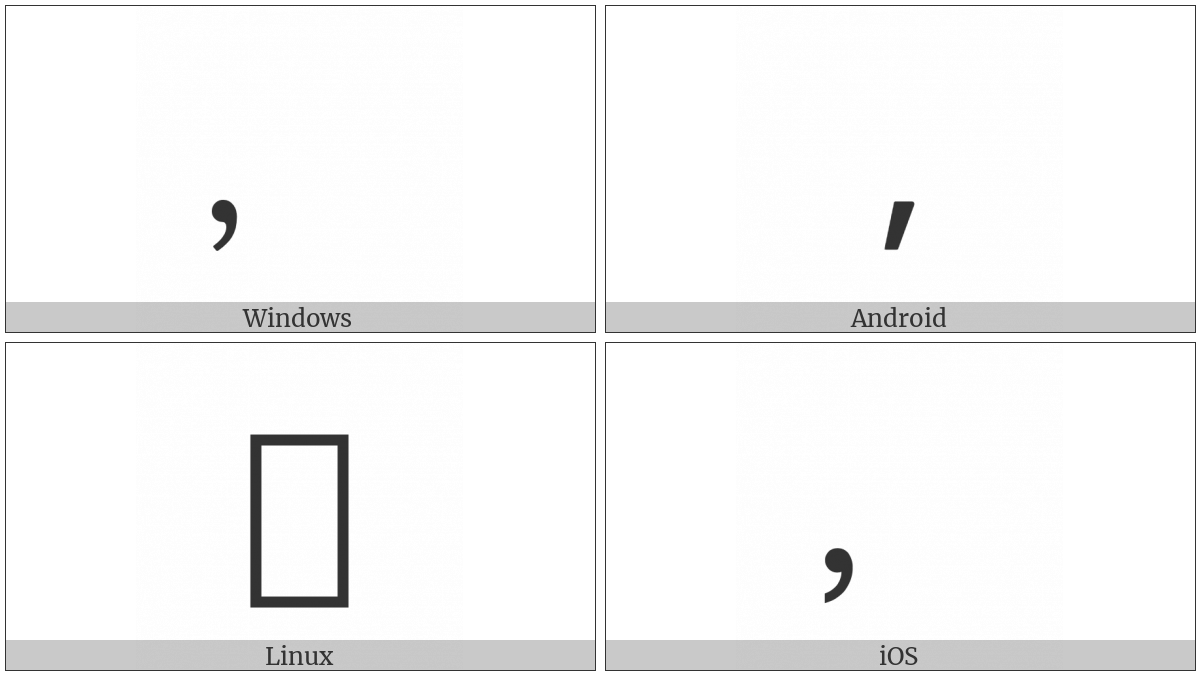 Fullwidth Comma on various operating systems