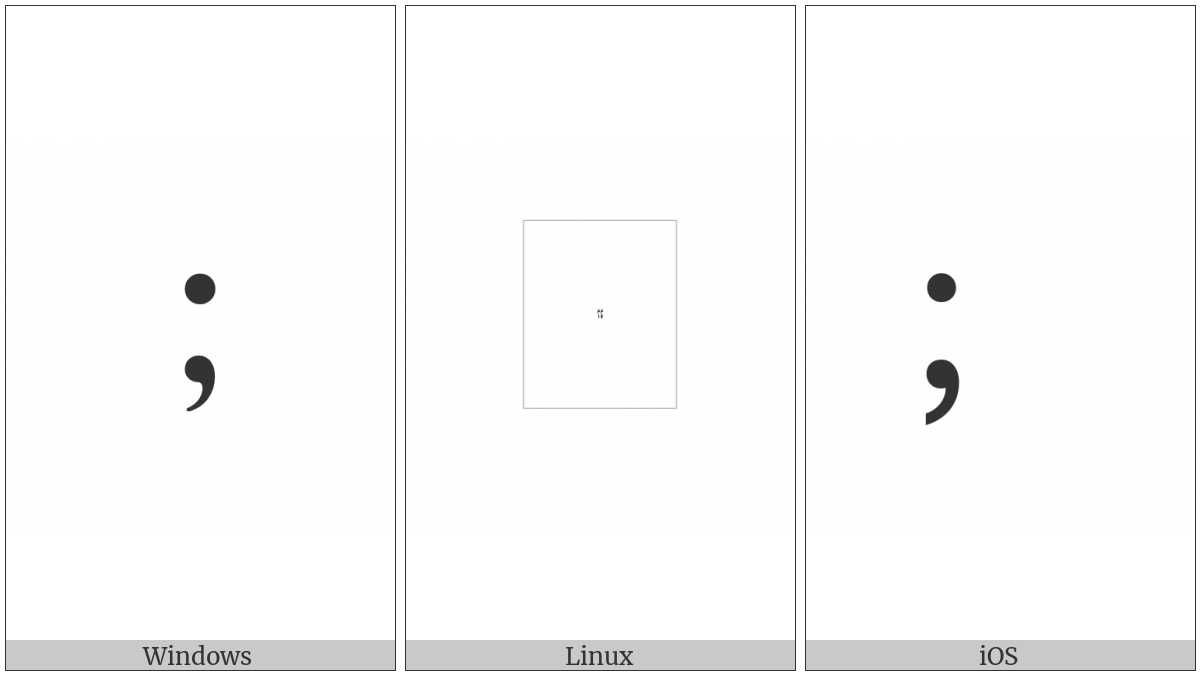 Fullwidth Semicolon on various operating systems