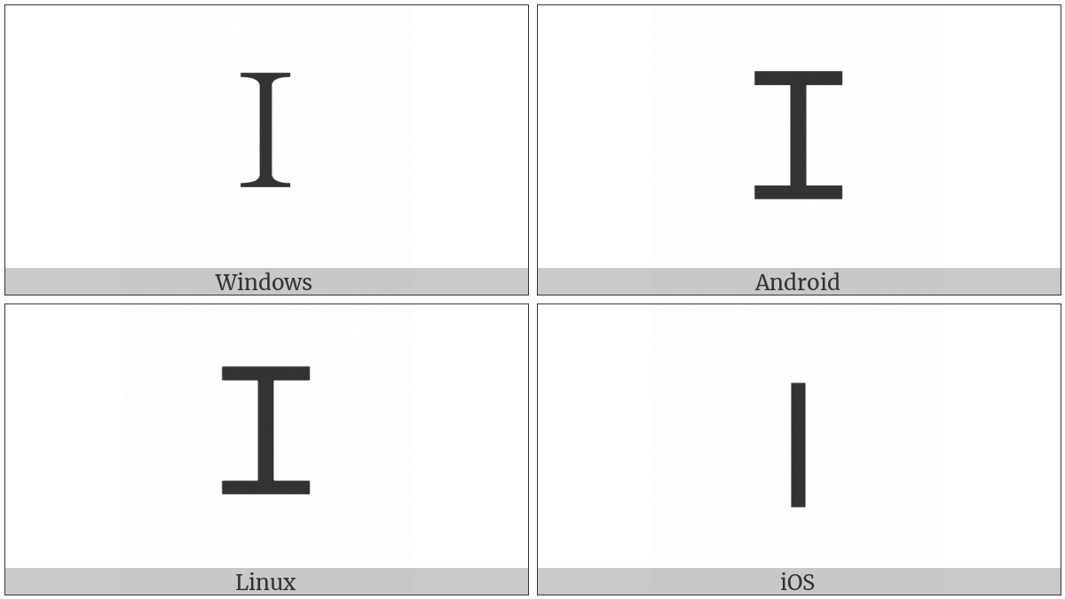 Fullwidth Latin Capital Letter I on various operating systems