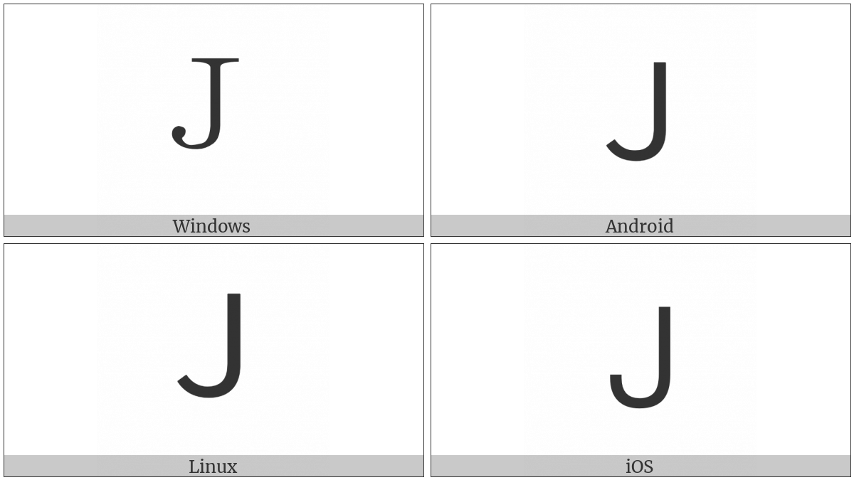 Fullwidth Latin Capital Letter J on various operating systems