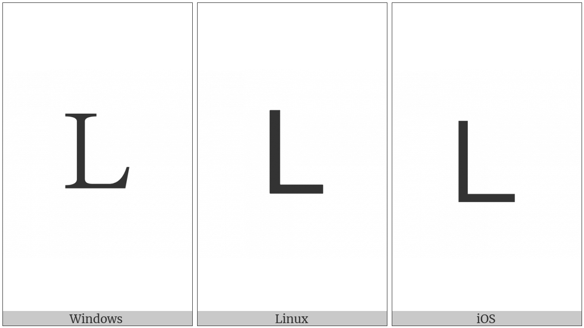Fullwidth Latin Capital Letter L on various operating systems