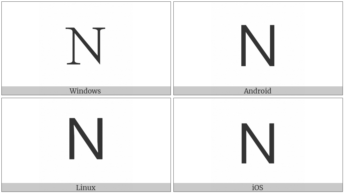 Fullwidth Latin Capital Letter N on various operating systems