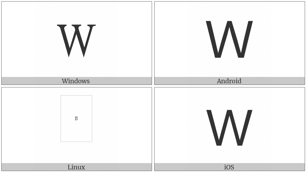 Fullwidth Latin Capital Letter W on various operating systems
