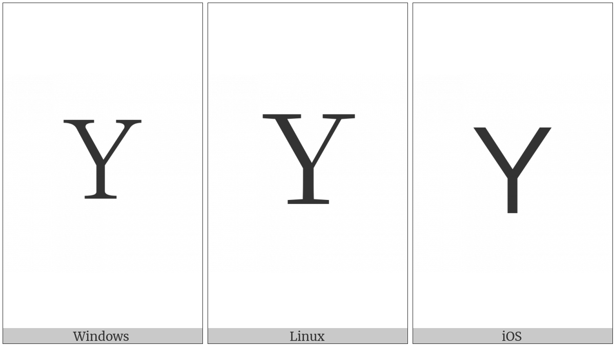 Fullwidth Latin Capital Letter Y on various operating systems