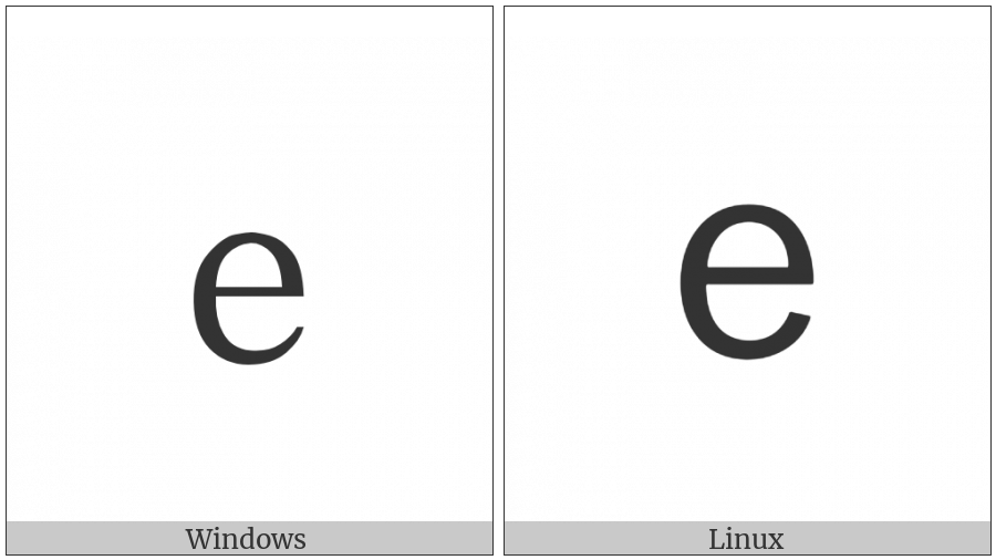 Fullwidth Latin Small Letter E on various operating systems