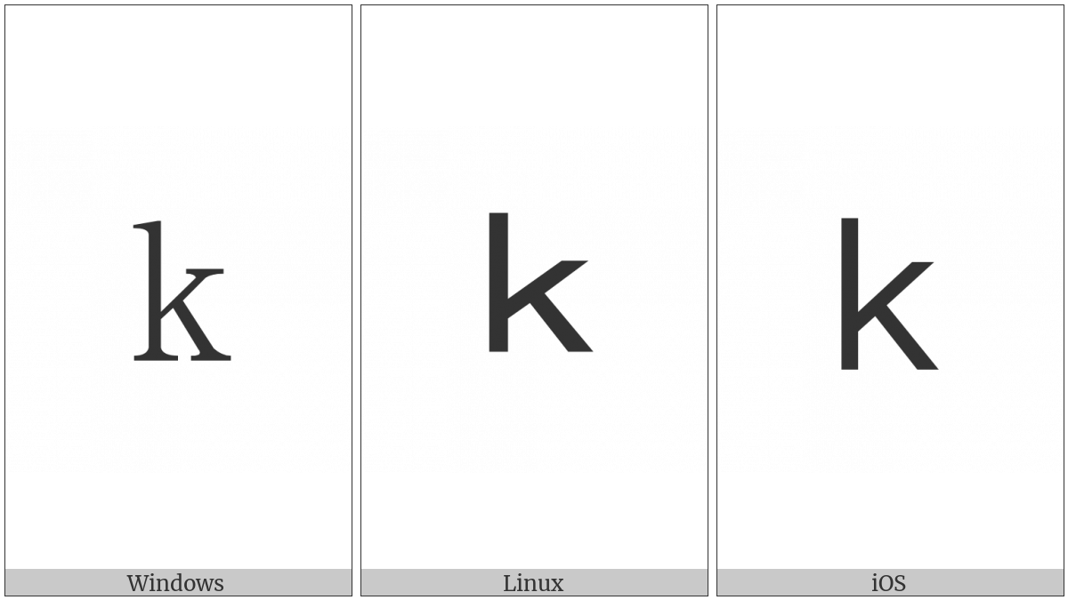 Fullwidth Latin Small Letter K on various operating systems