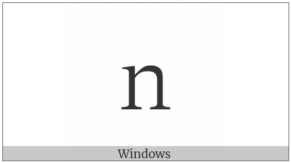 Fullwidth Latin Small Letter N on various operating systems