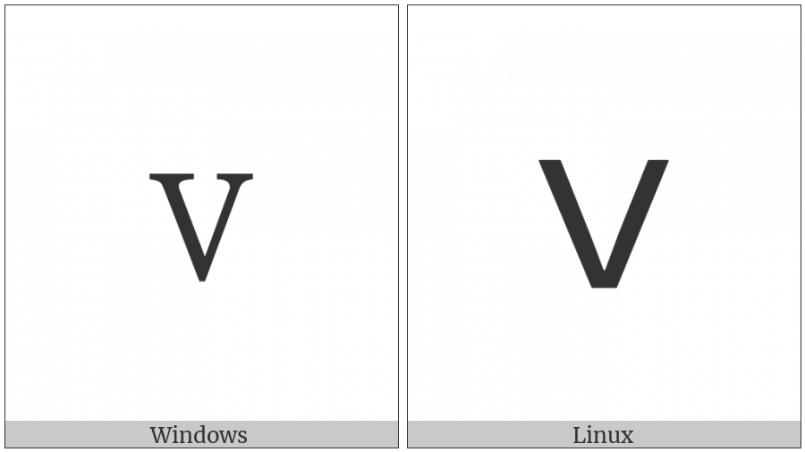 Fullwidth Latin Small Letter V on various operating systems
