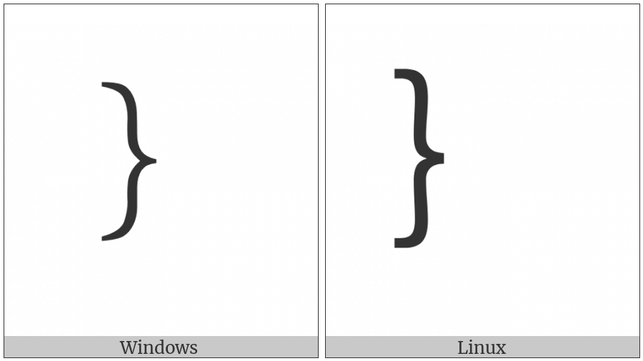 Fullwidth Right Curly Bracket on various operating systems