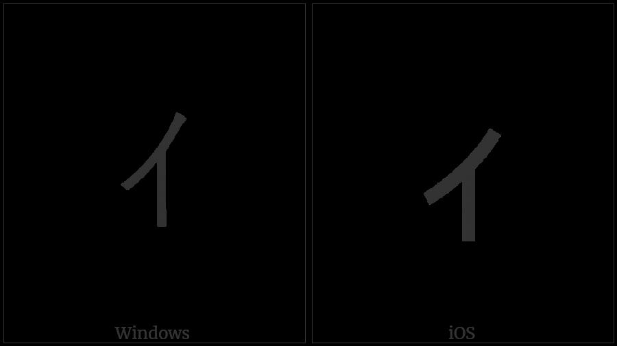 Halfwidth Katakana Letter Small I on various operating systems