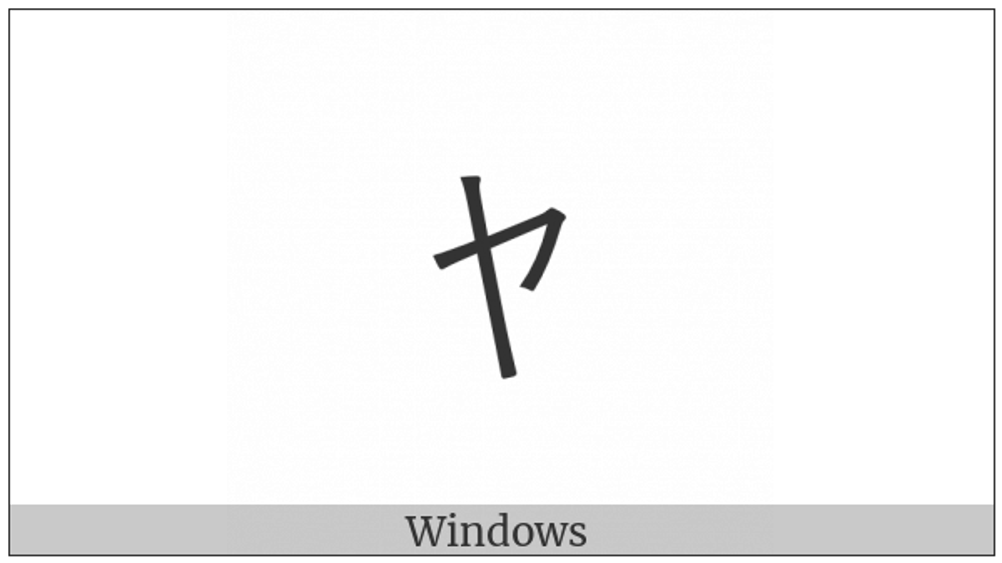 Halfwidth Katakana Letter Small Ya on various operating systems