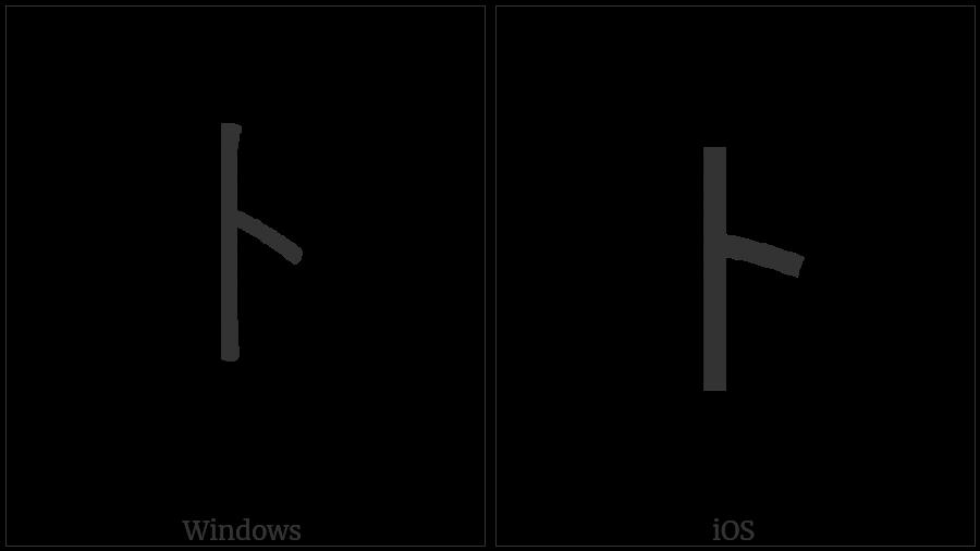 Halfwidth Katakana Letter To on various operating systems