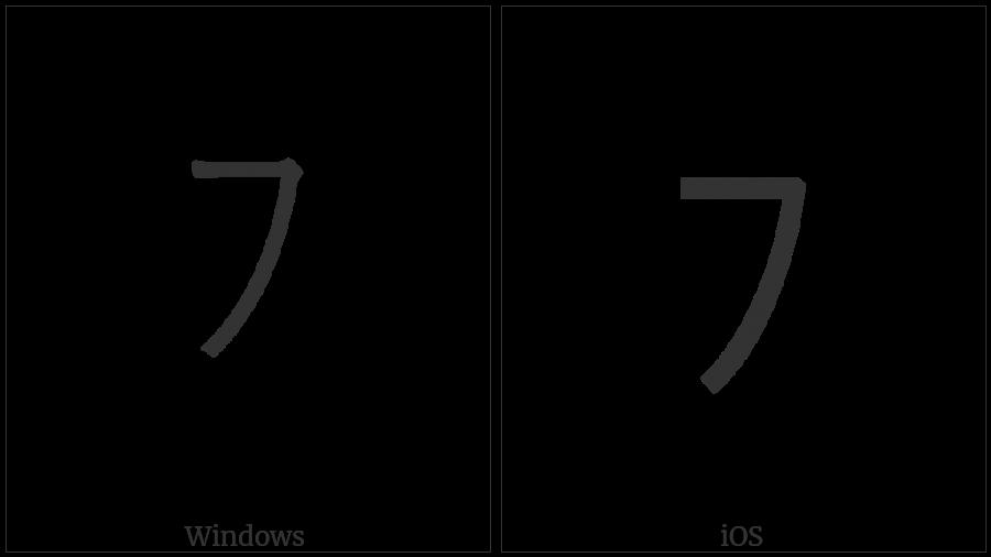Halfwidth Katakana Letter Hu on various operating systems