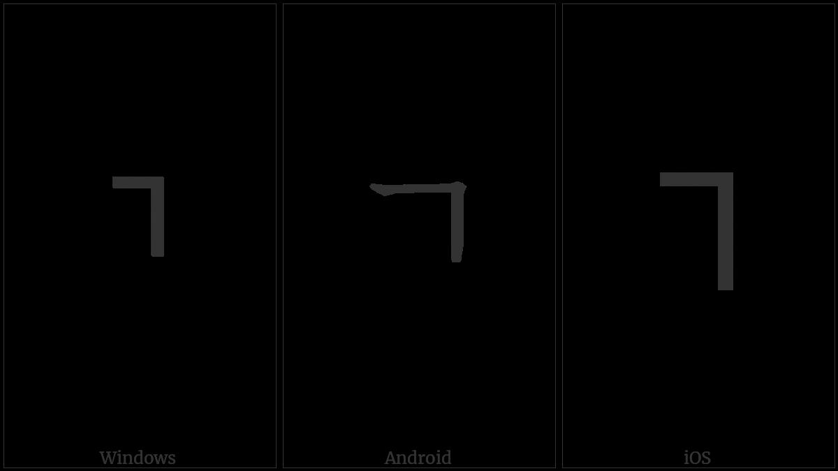 Halfwidth Hangul Letter Kiyeok on various operating systems