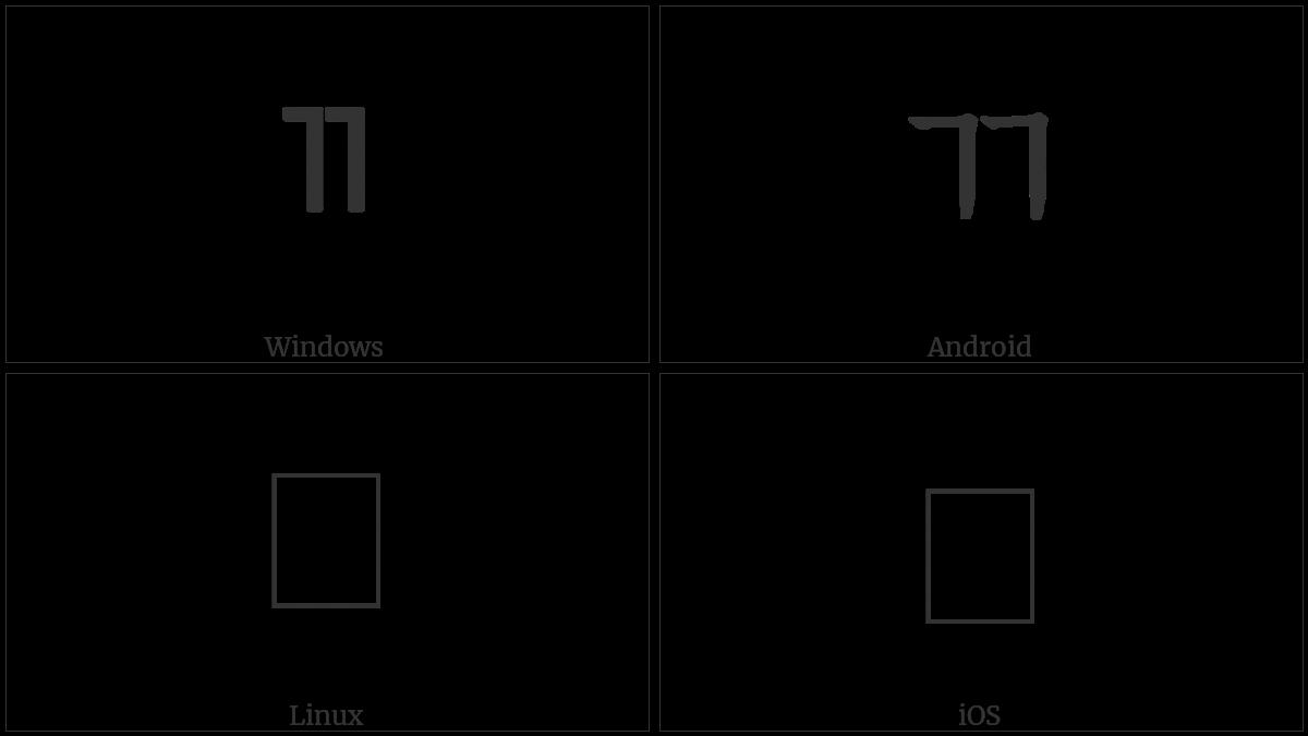 Halfwidth Hangul Letter Ssangkiyeok on various operating systems