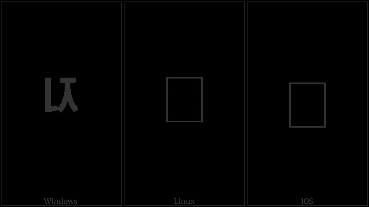 Halfwidth Hangul Letter Nieun-Cieuc on various operating systems