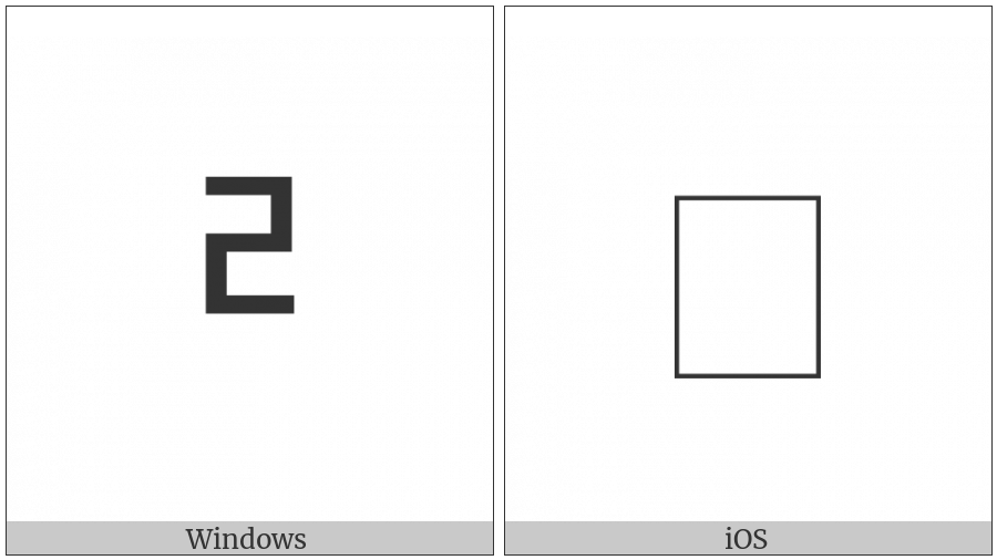 Halfwidth Hangul Letter Rieul on various operating systems
