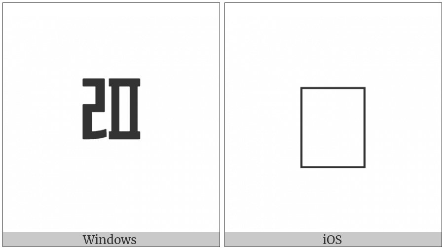 Halfwidth Hangul Letter Rieul-Phieuph on various operating systems