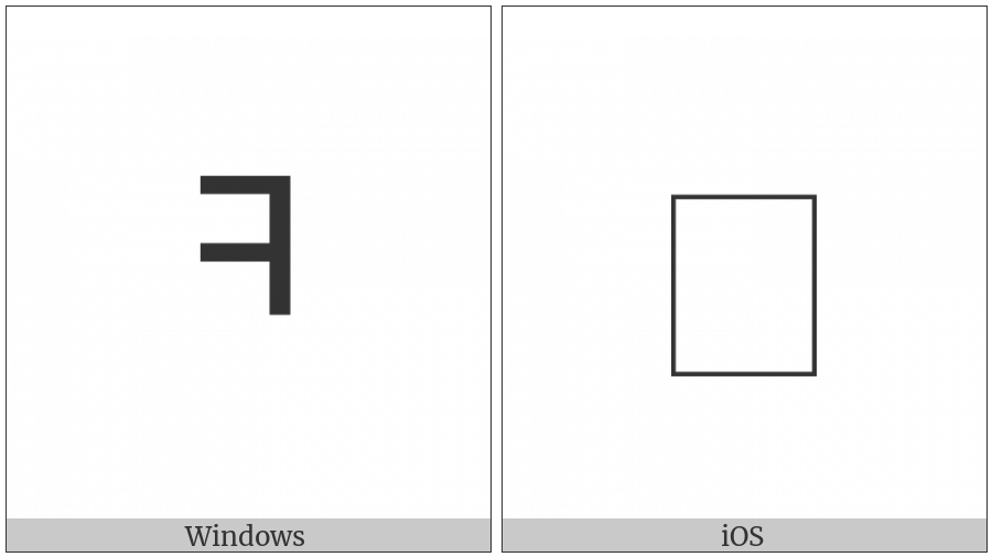 Halfwidth Hangul Letter Khieukh on various operating systems