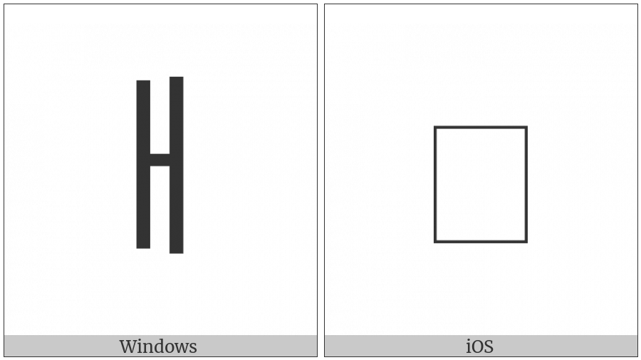 Halfwidth Hangul Letter Ae on various operating systems