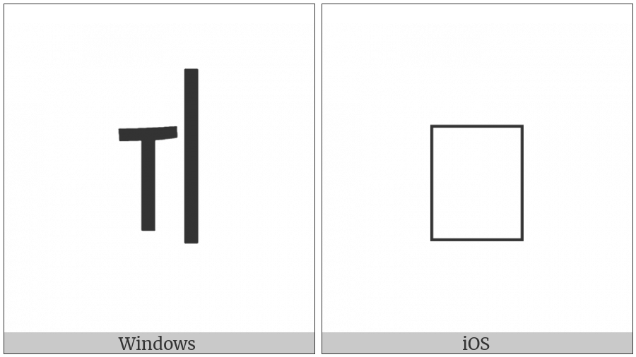 Halfwidth Hangul Letter Wi on various operating systems