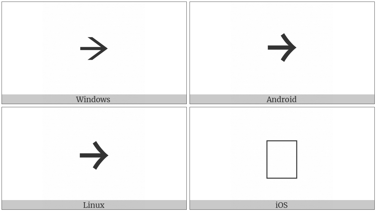Halfwidth Rightwards Arrow on various operating systems