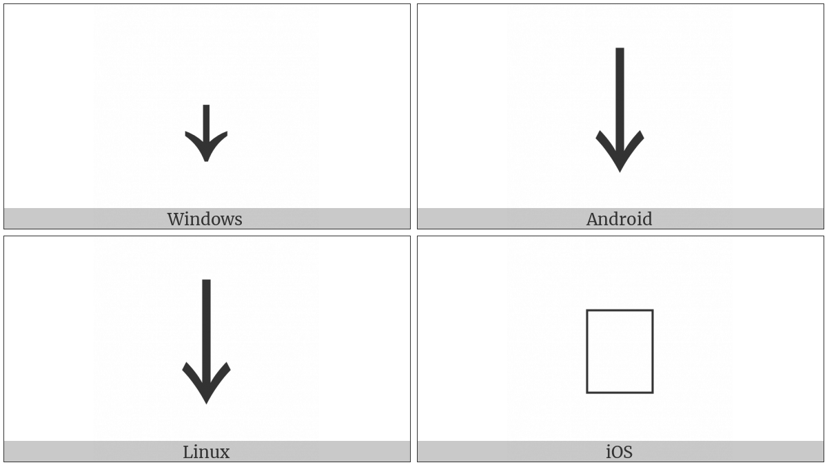 Halfwidth Downwards Arrow on various operating systems