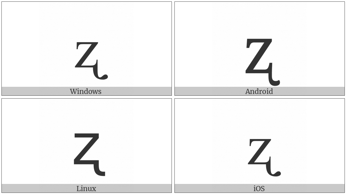 Latin Small Letter Z With Retroflex Hook on various operating systems