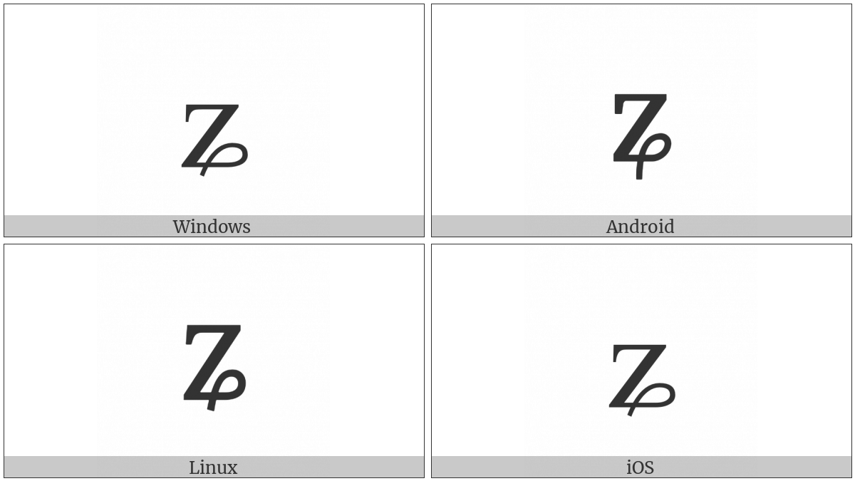 Latin Small Letter Z With Curl on various operating systems