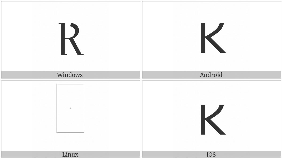 Gothic Letter Kusma on various operating systems
