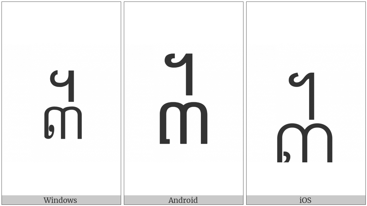 Khmer Symbol Bei Roc on various operating systems