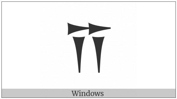 Old Persian Sign I on various operating systems