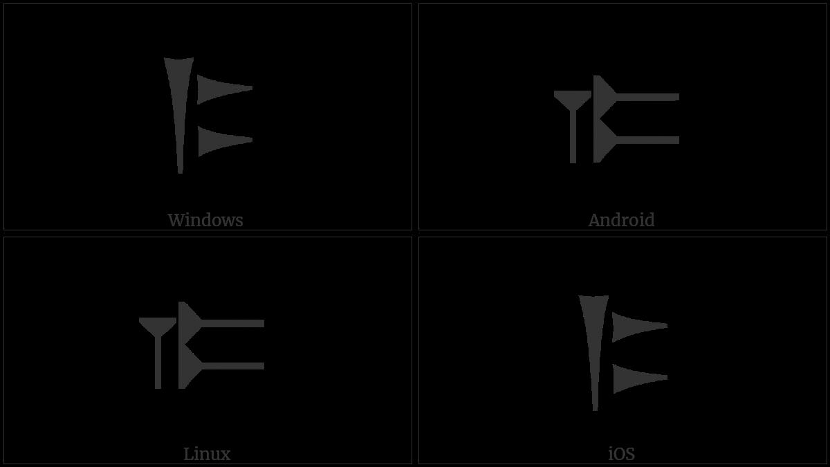 Old Persian Sign Ka on various operating systems