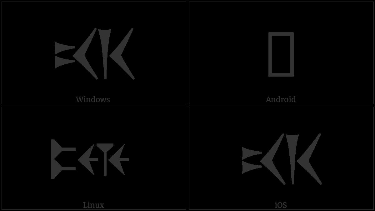 Old Persian Sign Xshaayathiya on various operating systems