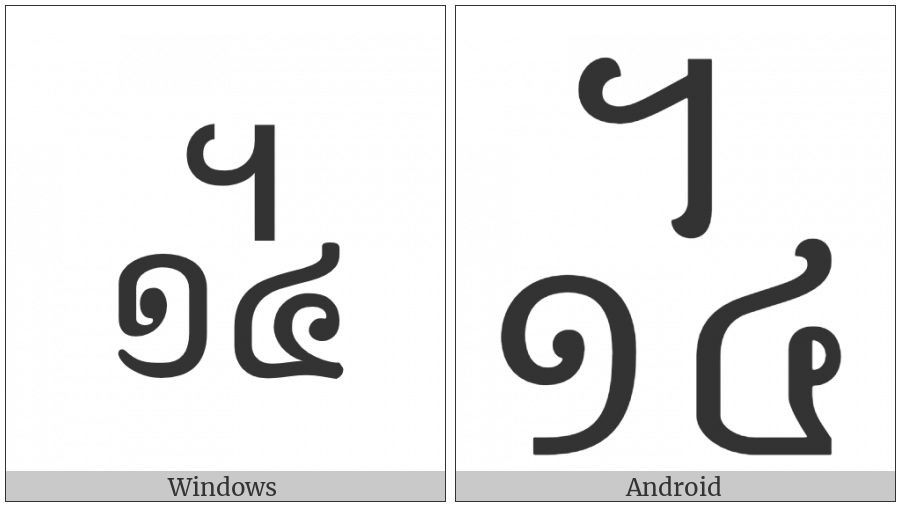Khmer Symbol Dap-Buon Roc on various operating systems