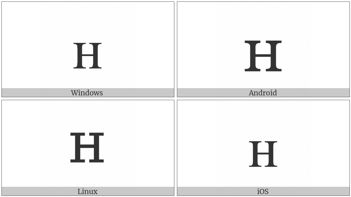 Latin Letter Small Capital H on various operating systems