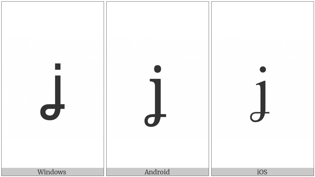 Latin Small Letter J With Crossed-Tail on various operating systems