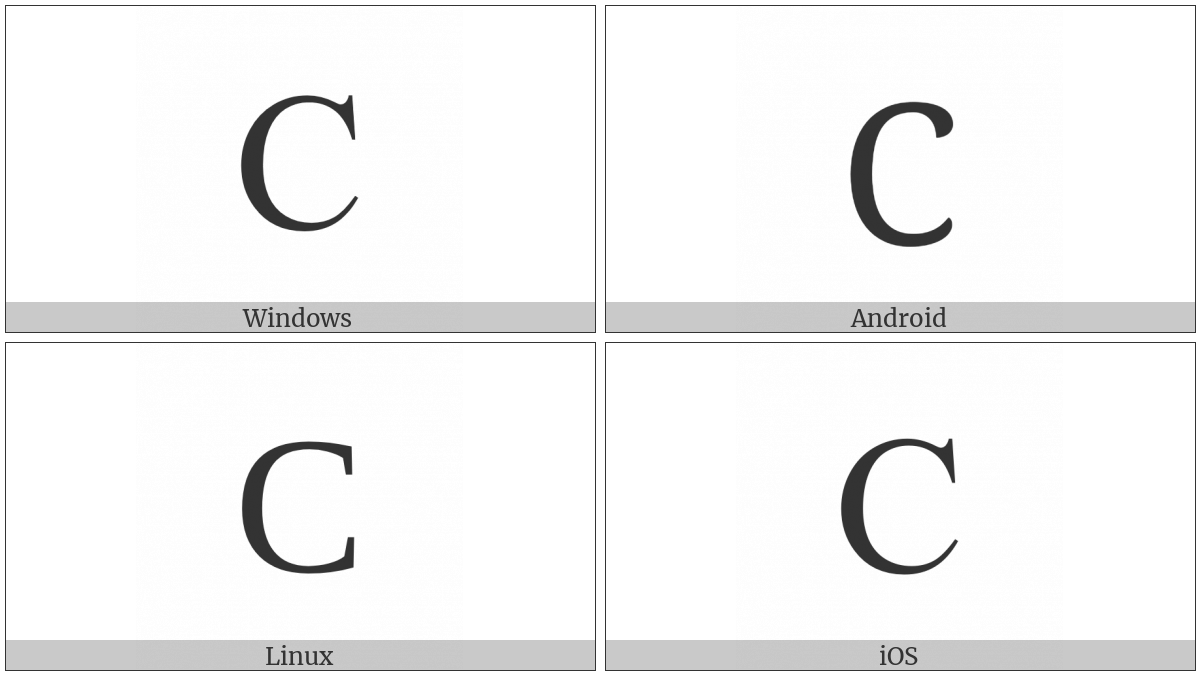 Latin Capital Letter C on various operating systems