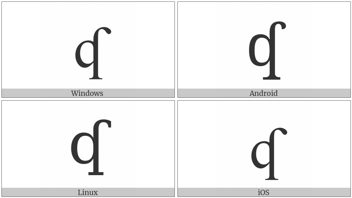 Latin Small Letter Q With Hook on various operating systems