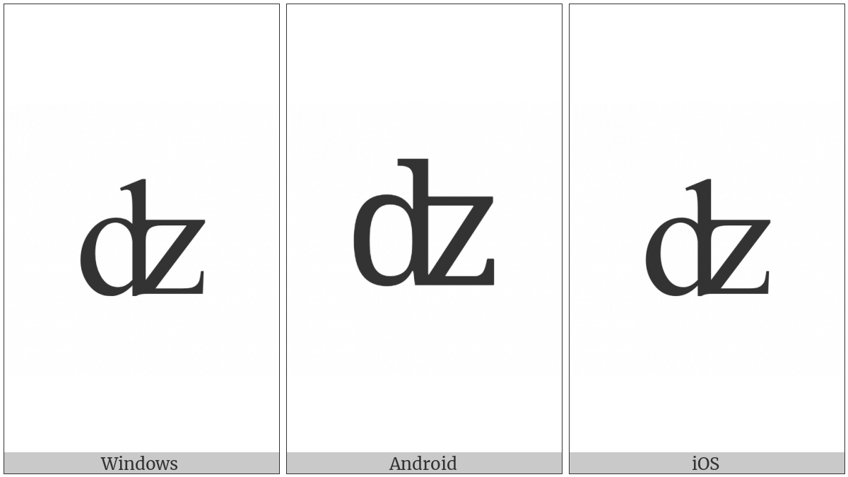 Latin Small Letter Dz Digraph on various operating systems